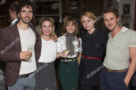 Stock Photo of Greg Barnett, Kaisa Hammarlund, Anna Lowe, Kelly Price and Peter Caulfield attend the after party on Press Night for Communicating Doors at the Menier Chocolate Factory