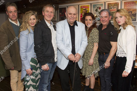 Robert Portal (Reece), Imogen Stubbs (Ruella), Matthew Cottle (Harold), Alan Ayckbourn (Author), Rachel Tucker (Poopay), David Bamber (Julian) and Lucy Briggs-Owen (Jessica) attend the after party on Press Night for Communicating Doors at the Menier Chocolate Factory