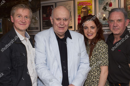 Matthew Cottle (Harold), Alan Ayckbourn (Author), Rachel Tucker (Poopay) and David Bamber (Julian) attend the after party on Press Night for Communicating Doors at the Menier Chocolate Factory