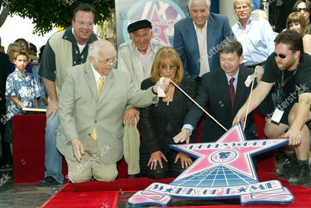 Editorial image of PENNY MARSHALL AND CINDY WILLIAMS RECEIVING A STAR ON THE HOLLYWOOD WALK OF FAME, LOS ANGELES, AMERICA - 12 AUG 2004