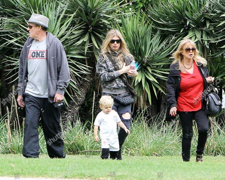 Editorial image of Fergie Duhamel and parents take son Axl to the park in Los Angeles, America - 17 May 2015