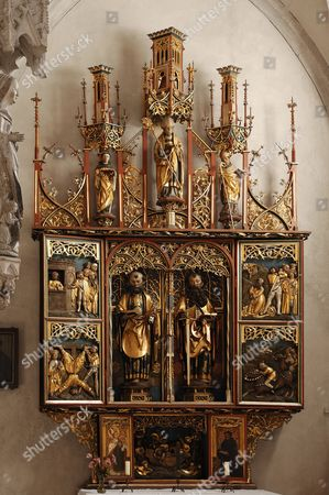 Stock Photo of Peter and Paul altar, 1510, by Peter Strauss in the Muenster Heilsbronn cathedral, Muensterplatz, Heilsbronn, Middle Franconia, Bavaria, Germany, Europe
