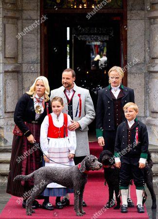 Crown Princess Mette-Marit, Crown Prince Haakon, Princess Ingrid Alexandra, Prince Sverre Magnus and Marius Borg Hoiby