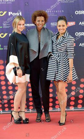 Eurovision hosts Mirjam Weichselbraun, Alice Tumler and Arabella Kiesbauer