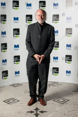 Author Laszlo Krasznahorkai poses during a photo-shoot before the announcement of the 2015 Man Booker Prize winner at the Victoria and Albert Museum.