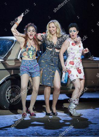 Clare Presland as Mercedes, Justina Gringyte as Carmen, Rhian Lois as Frasquita