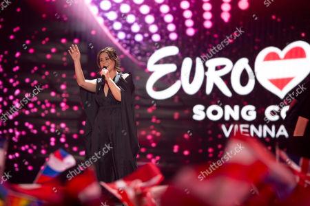 """Trijntje Oosterhuis of Netherlands performs her song """"Walk Along"""""""