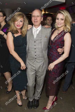 Tracy-Ann Oberman (Isabella), John Caird (Director) and Dianna Agron (Dahlia) attend the after party on Press Night for McQueen at St James Theatre