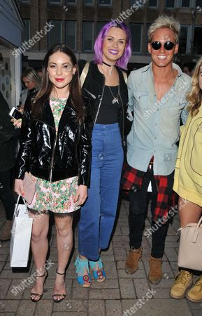Louise Thompson, Emily Weller and Jamie Laing