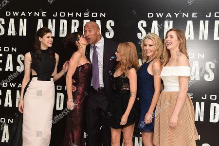 Alexandra Daddario, Carla Gugino, Dwayne Johnson, Breanne Parhiala and Morgan Griffin