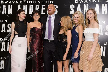 Alexandra Daddario, Carla Gugino, Dwayne Johnson, Kylie Minogue, Breanne Parhiala and Morgan Griffin
