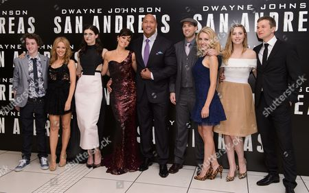 Stock Image of Art Parkinson, Kylie Minogue, Alexandra Daddario, Carla Gugino, Dwayne Johnson, Brad Peyton, Breanne Parhiala, Morgan Griffin and Alec Utgoff