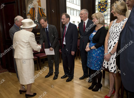 The Queen And Prince Philip Visit The Journalists' Charity At Stationers Hall In London. Geordie Greig Editor Of The Mail On Sunday Anna Botting Christina Lamb.