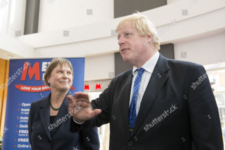 Editorial image of Boris Johnson and Angie Bray speaking to local business owners at Metro Bank in Ealing, London, Britain - 08 Apr 2015