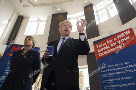 Editorial picture of Boris Johnson and Angie Bray speaking to local business owners at Metro Bank in Ealing, London, Britain - 08 Apr 2015