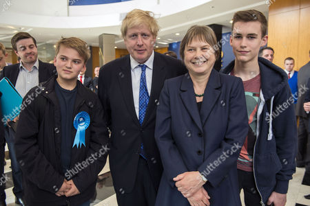 Stock Image of London Mayor Boris Johnson with young conservatives Louis Miles and Benjamin Michael, and Angie Bray, Candidate for Ealing Central and Acton