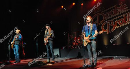 (L-R) John Cowan, Patrick Simmons and Tom Johnston of The Doobie Brothers perform at the Majestic Theater on April 24, 2015 in San Antonio, Texas.