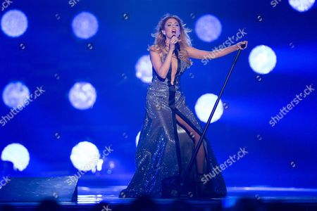 """Maria Elena Kyriakou of Greece performs her song """"One Last Breath"""" at the rehearsals for the grand final show of the Eurovision Song Contest 2015 in Vienna, Austria on May 22, 2015."""