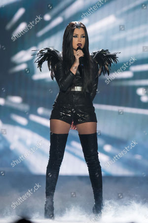"""Nina Sublatti of Georgia performs her song """"Warrior"""" at the rehearsals for the grand final show of the Eurovision Song Contest 2015 in Vienna, Austria on May 22, 2015."""
