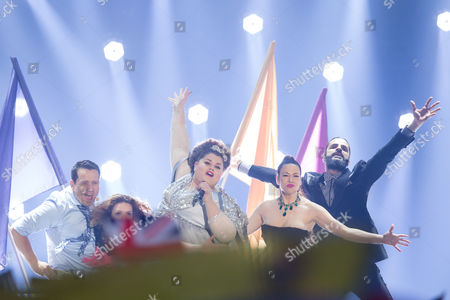 """Bojana Stamenov of Serbia performs her song """"Beauty Never Lies"""" at the grand final show of the Eurovision Song Contest 2015"""
