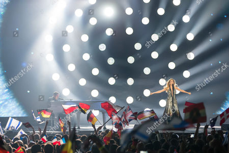 """Stock Image of Maria Elena Kyriakou of Greece performs her song """"One Last Breath"""" at the grand final show of the Eurovision Song Contest 2015"""