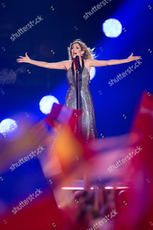 """Stock Photo of Maria Elena Kyriakou of Greece performs her song """"One Last Breath"""" at the grand final show of the Eurovision Song Contest 2015"""