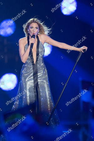 """Stock Picture of Maria Elena Kyriakou of Greece performs her song """"One Last Breath"""" at the grand final show of the Eurovision Song Contest 2015"""