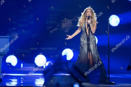 """Maria Elena Kyriakou of Greece performs her song """"One Last Breath"""" at the grand final show of the Eurovision Song Contest 2015"""