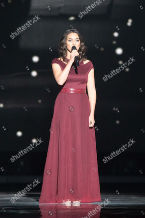 "Boggie of Hungary performs her song ""Wars for Nothing"" at the grand final show of the Eurovision Song Contest 2015"