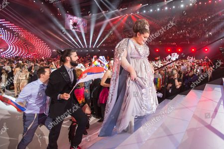 Bojana Stamenov of Serbia at the grand final show of the Eurovision Song Contest 2015