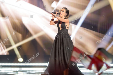 "Elhaida Dani of Albania performs her song ""I'm Alive"" at the grand final show of the Eurovision Song Contest 2015"