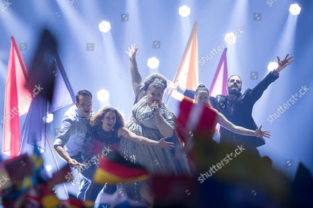 """Stock Picture of Bojana Stamenov of Serbia performs her song """"Beauty Never Lies"""" at the grand final show of the Eurovision Song Contest 2015"""