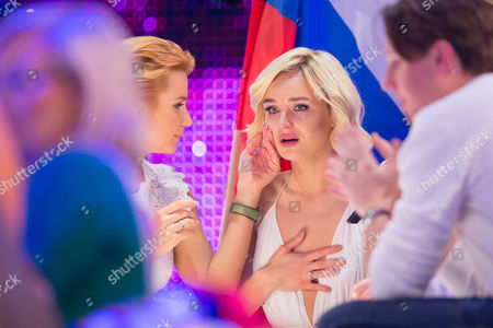 Polina Gagarina of Russia at the grand final show of the Eurovision Song Contest 2015