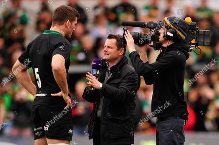 BT Sport Presenter Chris Hollins interviews Christian Day of Northampton Saints before the match
