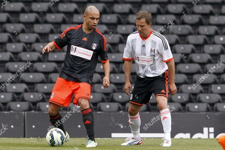 Footballer Danny Webber and a Fulham legend  at the Shooting Stars Chase Cup 2015 - Celebrity match against Fulham Legends