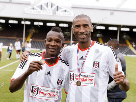Fulham Legend John Pantsil and Abdes Ouaddou at the Shooting Stars Chase Cup 2015 - Celebrity match against Fulham Legends