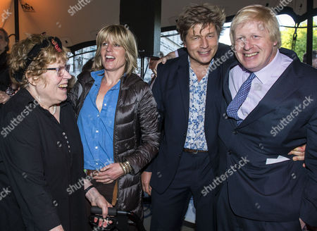 Stock Picture of Charlotte Johnson Wahl, sister Rachel Johnson, brother Leo Johnson and Boris Johnson