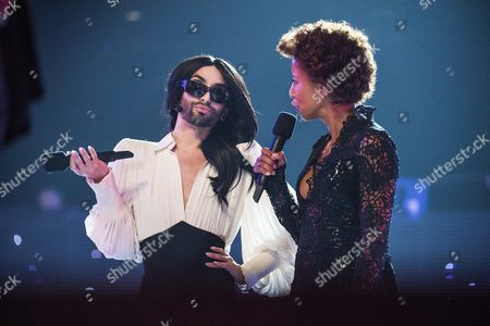 Conchita Wurst and Arabella Kiesbauer, during the rehearsal for the grand final of the Eurovision Song Contest 2015 in Vienna