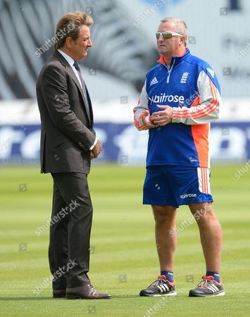 England interim head coach Paul Farbrace speaks to Channel 5 presenter Mark Nicholas before play