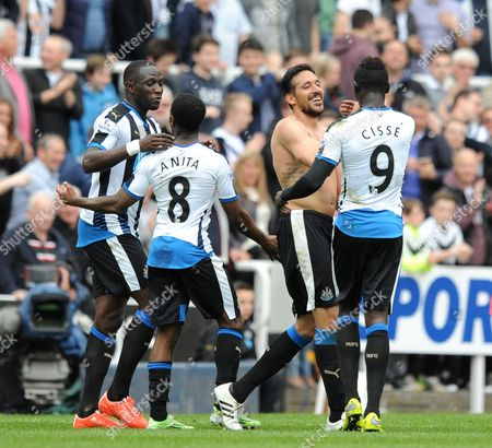 Jonas Gutierrez of Newcastle United (2nd from right) celebrates scoring their second goal