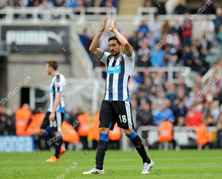 Jonas Gutierrez of Newcastle United acknowledges the fans as they sing his name
