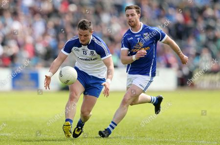 Cavan's Damien O'Reilly and Dermot Malone of Monaghan