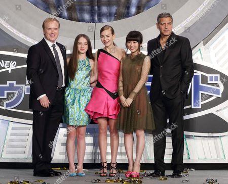 Brad Bird, Britt Robertson, Mirai Shida and George Clooney