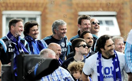 Chelsea manager Jose Mourinho and his assistants Steve Holland, Rui Faria, Silvino Louro and Chelsea owner Roman Abramovich enjoy the celebration
