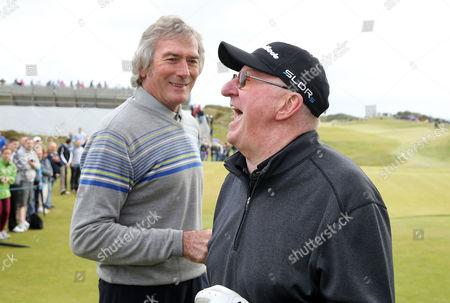 Former footballer Pat Jennings, left,  with snooker player Dennis Taylor