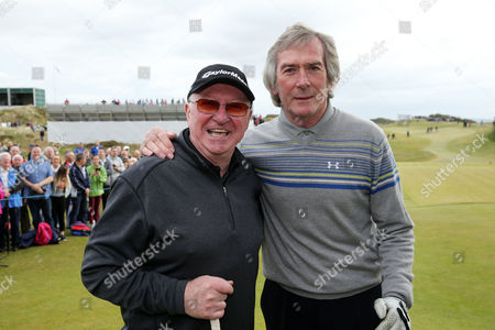 Stock Photo of Snooker player Dennis Taylor, left, with former footballer Pat Jennings on the 1st tee