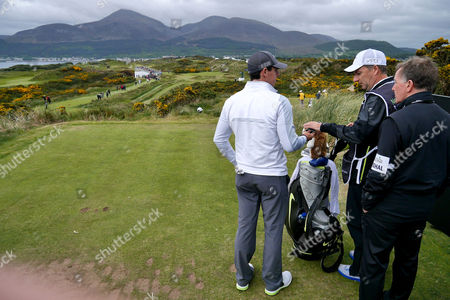 Rory McIlroy with caddie JP Fitzgerald and coach Michale Bannon