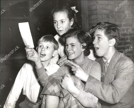 Editorial picture of L-r: Colin Gibson Elizabeth Saunders (back) Caroline Denzil And Wilfred Downing At Tv Rehearsal For New Children's Serial 'a Castle And Sixpence'. Box 0565 190515 00331a.jpg.