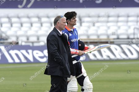 Selector James Whitaker with Captain Alastair Cook of England during the Nets