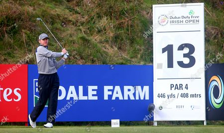 Michael Hoey on the 13th Tee during the Irish Open at Royal Co Down golf course in Newcastle